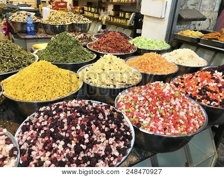 Jerusalem - May 9, 2018: Mahane Yehuda Market Spice Vendor. Popular With Locals And Tourists, The Ma