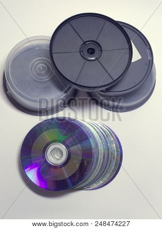 Disc Cake Boxes With Threaded Transparent Protection Covers And Solid Black Plastic Bottoms. Heap Of