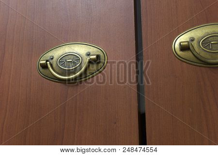 Foldable Pull Handle ; Artificially Aged Brass Folding Knob, Attached To Wardrobe Door