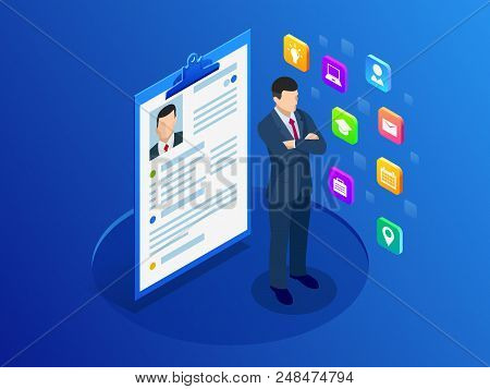 Isometric Woman And Cv Resume Documents. Recruiting Advertisement, Job Opportunity. Searching Profes