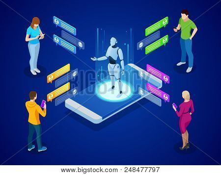 Isometric Artificial Intelligence. Ai And Business Iot Concept. Mans And Women Chatting With Chatbot
