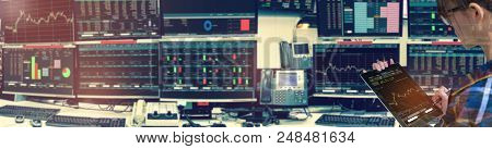 Double Exposure Of Business Woman Holding Blank Tablet For Stock Market Quotes And Chart In Monitor