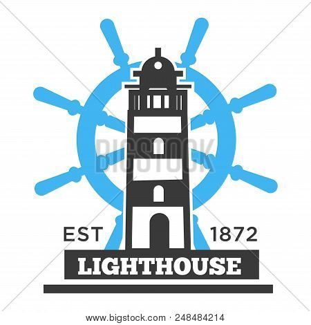 Lighthouse Hight Building Poster With Headline. Tower Or Other Structure Containing Beacon Light To