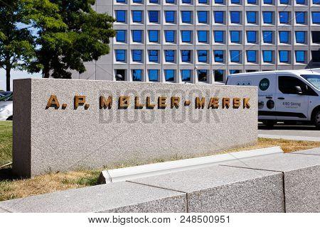 Copenhagen, Denmark - June 27, 2018: Sign Outside The A.p. Moller-maersk Group Head Office.