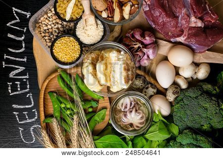 Natural Products And Ingredients Containing Selenium As Octopus, Bread, Beef, Spinach, Eggs, Cottage