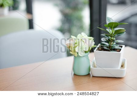 Many Fresh Colorful Flower In Vase On Table For Relax & Flower Background Or Texture - Interior Coff