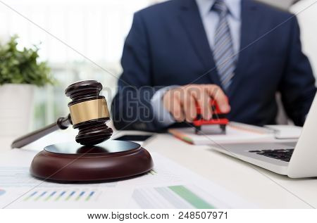 Justice Symbol Wooden Gavel On Table. Attorney Working In Office. Law Attorney Court Judge Justice L