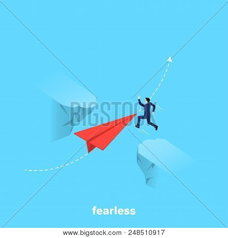 A Man In A Business Suit Jumps Over A Precipice With A Flying Paper Plane, An Isometric Image