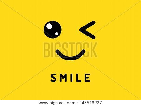 Smile And Winking. Happy Smiling Face, Funny Wink Isolated Cute Emoji On Yellow Concept Sticker Back