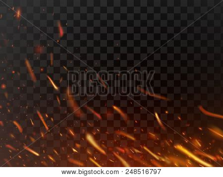 Close-up Hot Fiery Sparkles And Flame Particles Isolated Spark. Inferno Red Yellow Hell Grill Burnin