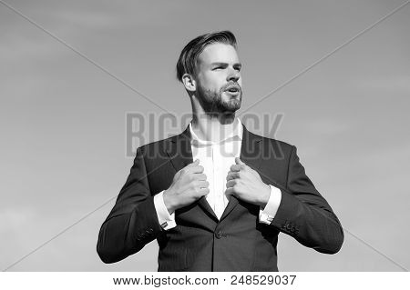 Hard Decision To Make. .businessman Stand On Blue Sky, Success. Man In Business Suit, Fashion. Succe