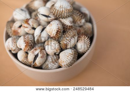 Delicious Boiled Or Steamed Cockles (scallop Seafood).  Selective Focus.