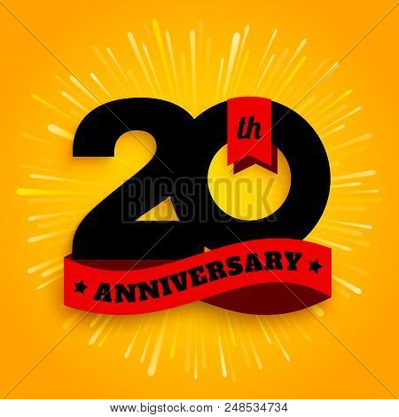 Twenty Years Anniversary Logo With Red Ribbon, 20th Years Celebration. Fireworks On Yellow Backgroun