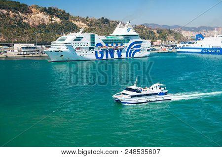 Barcelona, Spain - March 30, 2016: Pleasure Boat And Cruise Ships Gnv, Grimaldi Lines In Sea. Water
