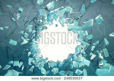 3d Illustration Wall Of Ice With A Hole In The Center Of Shatters Into Small Pieces. Place For Your