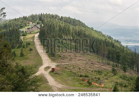 Silesian Beskids - View From The Klimczok Peak (1117 M Above Sea Level) To The Magura Peak (1109 M A