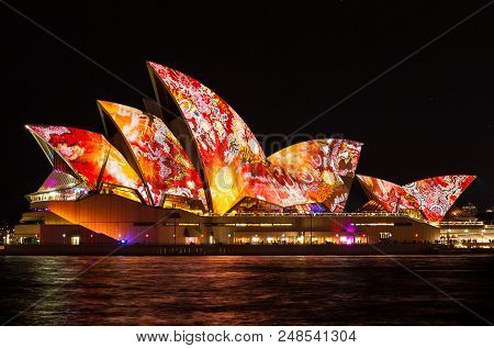 Sydney, Australia - May 27,2016 : The Sydney Opera House Sails Lights Up During Vivid 2016: A Colorf