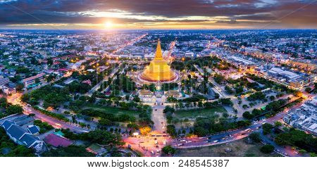 Aerial view of Phra Pathom chedi Oldest Buddhist structure in Thailand. One of the most important places for Buddhists in Thailand can be found in Nakhon Pathom, one of the oldest cities in Thailand. poster
