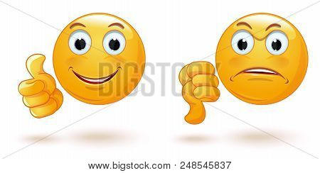 Thumb Up And Down. Emoticons Set Demonstrating Opposing Emotions. Cheerful And Sad Face. Emoji Colle