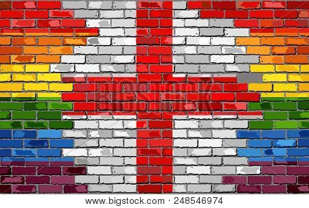 Brick Wall England And Gay Flags - Illustration, Rainbow And England Flag On Brick Textured Backgrou