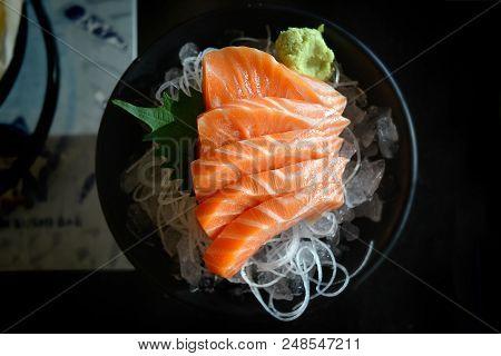 Salmon Sashimi Japanese Food.