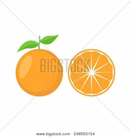 Orange With Leaf Vector Icon. Orange Icon Clipart. Sliced Orange Cartoon.
