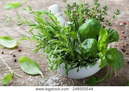 Aromatic Herbs In Mortar Bowl. Basil, Thyme, Rosemary And Tarragon. Fresh Ingredients For Cooking.