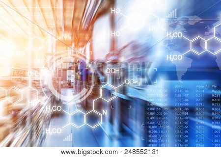 Creative Abstract Chemical Scientific Background Illustration With Chemistry Formula And Atom Struct