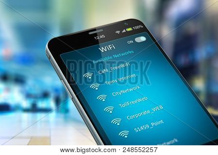 Wireless Networking On Mobile Devices Business Communication Technology Concept: Color 3d Render Of