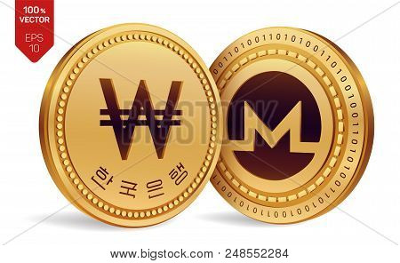 Monero. Won. 3d Isometric Physical Coins. Digital Currency. Korea Won Coin. Cryptocurrency. Golden C