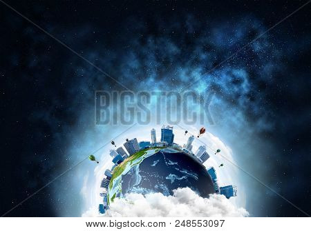 Abstract Image Of Space View At Planet Earth In Clouds With Buildings And Aerostats. Dark Space Haze