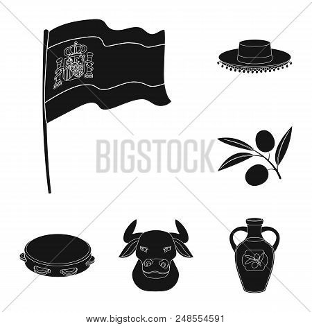 Spain Country Black Icons In Set Collection For Design.travel And Attractions Vector Symbol Stock  I