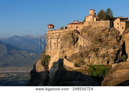 Great Meteoron Monastery. Beautiful Scenic View, Ancient Traditional Greek Building On The Top Of Hu