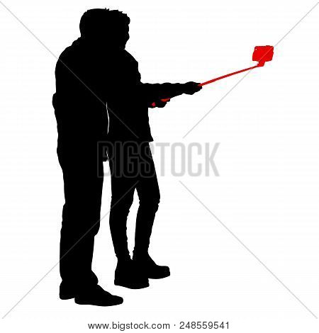 Silhouettes Man And Woman Taking Selfie With Smartphone On White Background.