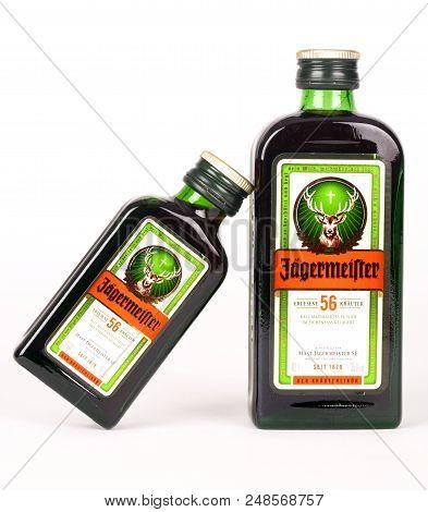 Huettenberg, Germany - 26.06.2018: Bottles Of JÄgermeister Liquor Drink Isolated On White Background