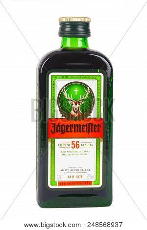 Huettenberg, Germany - 26.06.2018: Bottle Of JÄgermeister Liquor Drink Isolated On White Background.