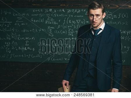 Exacting Teacher. Man With High Expectations Looks Unsatisfied With Students Knowledge. Professor Ex