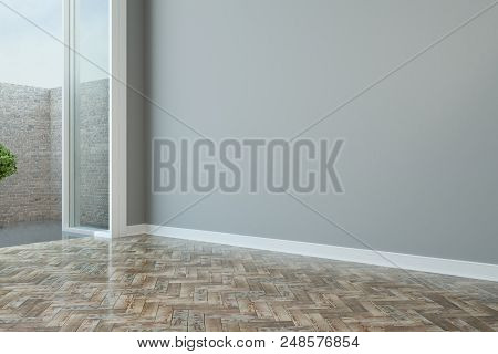 Empty Spacious Modern Room With Grey Wall, Wooden Floor And Floor-to-ceiling Window. 3d Rendering