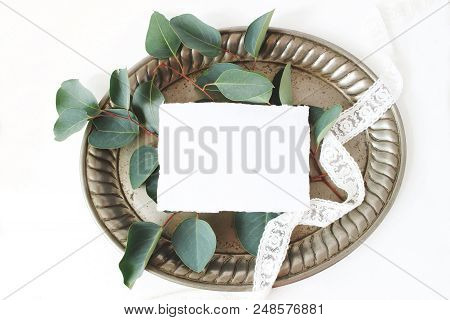 Styled Stock Photo. Feminine Wedding Still Life Composition, Mockup Scene With Vintage Silver Tray,