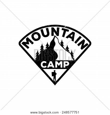 Camping Black Vintage Emblem. Monochrome Logo Of The Mountain, Forest And Traveler. Vector Stock Ill