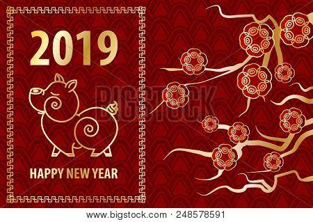 2019 Chinese New Year Yellow Pig. Golden Asian Sakura Frame. Red Holiday Pattern. Traditional Holida