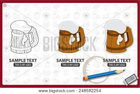 Wooden Beer Mug With The Foam Logo, Toby, Wooden Cup Or Tankard Full Of Beer