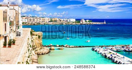 Otranto - beautiful coastal town in Puglia with turquoise sea. Italy