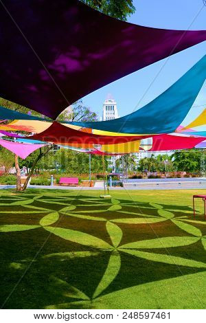 July 8, 2018 In Los Angeles, Ca:  Colorful Canopy With Contemporary Decorative Architectural Design