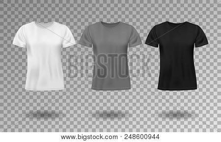 Black, White And Gray Realistic Male T-shirt With Short Sleeves. Blank T-shirt Template Isolated. Co