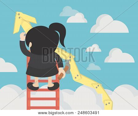 Business Woman Create Stock Route Up By Oneself Ladder Against The Sky. Education And Success Concep