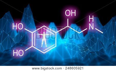 Chemical molecular formula hormone adrenaline. Infographics illustration. Man silhouette. Low poly mountains landscape backdround. 3D rendering poster