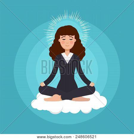 Office Worker  Meditating, Sitting In Lotus Pose.  Business Woman Meditation Concept. Vector Illustr