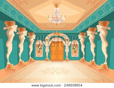 Vector Dancing Hall With Atlas Pillars. Interior Of Ballroom With Titan, Atlant Columns For Dancing,