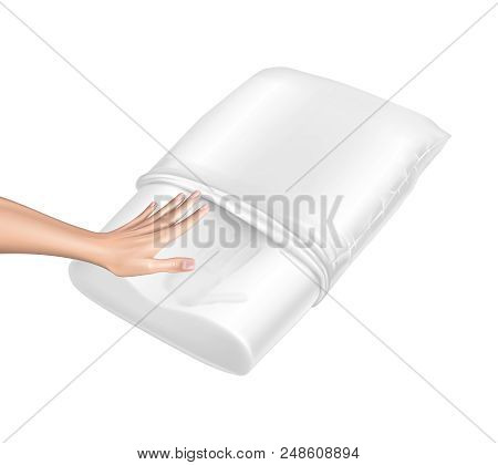 Vector 3d Realistic Orthopedic Pillow From Natural Latex With Memory Effect. Hand Touches White Cozy